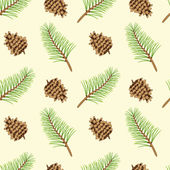 Pine branches and cones seamless texture — Stock Vector