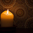Stock Photo: Candlelight at vintage wallpaper