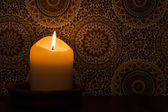 Candlelight at vintage wallpaper — Stock Photo