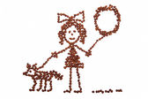 Child's drawing girl with a balloon walking with a dog  from coffee beans — Stock Photo