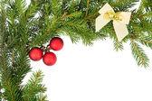 Noel kare kırmızı top ve beyaz yayla — Stok fotoğraf