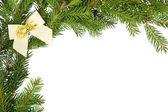 Noel çerçeve beyaz fiyonklu — Stok fotoğraf