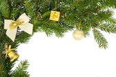 Christmas frame with white bow and yellow decorations — Stok fotoğraf