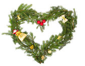 Christmas frame in the shape of a heart with yellow decorations — Stok fotoğraf
