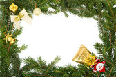 Christmas frame with white bow,santa and yellow decorations — Stok fotoğraf