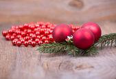 Christmas decoration on rustic wood — Stok fotoğraf