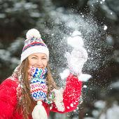 Winter fun. Happy woman outdoor portrait — Stockfoto