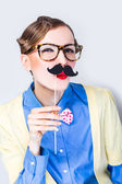 Funny woman with mustache — Stock Photo