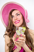 Summer happy woman in hat — Stock Photo