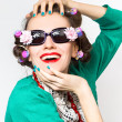 Beauty girl portrait with funny sunglasses — Stock Photo