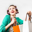 Funny shopping woman — Stock Photo
