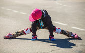Cute little boy roller blading — Foto Stock