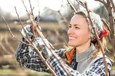 Happy gardener woman — Stock Photo