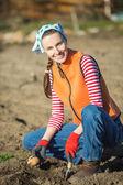 женщина садовник, посадка картофеля — Стоковое фото