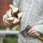 Man with axe — Stock Photo