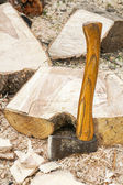Fire wood and old axe — Stock Photo