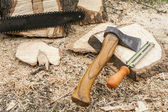 Axe and chainsaw file — Stock Photo
