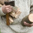 Hands of a man with axe and firewood — Stock Photo