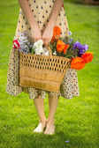 Romantic woman with flowers — Stock fotografie