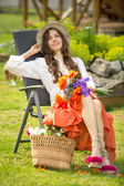 Romantic woman relaxing outdoors — Stock Photo