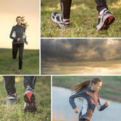 Running woman collage — Stock Photo