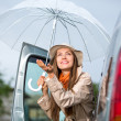 Young happy woman car umbella — Stock Photo #47403287