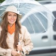 Young happy woman with umbrella — Stock Photo #47403441