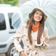 Young happy woman near car — Stock Photo #47403475