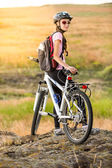 Tourist cyclist relaxing — Stock Photo