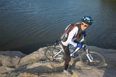 Cyclist woman — Stock Photo