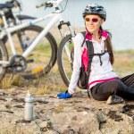Постер, плакат: Sport bike woman