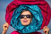 Fashion portrait woman in scarf — Foto de Stock
