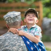 Happy american family, father with son — Stock Photo