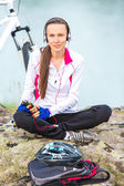 Retrato mujer de moto deporte — Foto de Stock