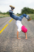 Little boy dancing break dance — Stock Photo