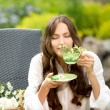 Beautiful woman with herbal tea — Stock Photo