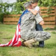 Father hugs his son. American family — Stock Photo #48621507
