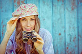 Happy tourist hipster girl — Stock Photo