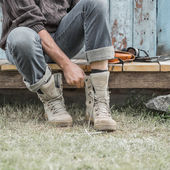 Man wearing boots — Stock Photo