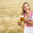 Beautiful girl with beer — Stock Photo #49514941