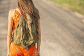Woman with backpack — Stock Photo