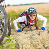 Sport bike woman portrait — Stock Photo