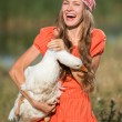 Cute girl with goose — Stock Photo #50332267