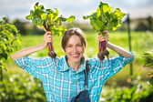Healthy organic vegetables - woman gardener — Stock Photo