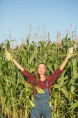Farmy at corn field — Stock Photo