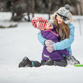 Winter fun, winter family play outdoors — Stock Photo