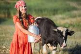 Female farmer on organic farm — Stock Photo