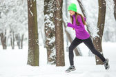 Winter running  woman — Stock Photo