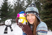 Funny winter woman — Stock Photo