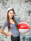 Marine fashion woman — Stockfoto